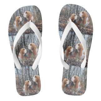 Basset Hounds in the Woods Flip Flops