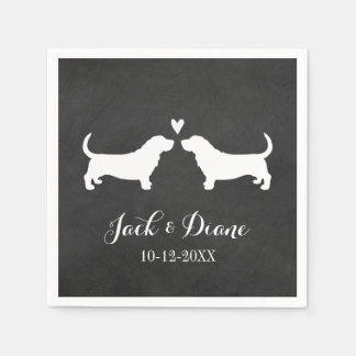 Basset Hounds Wedding Couple with Custom Text Paper Napkins