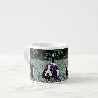 Basset Puppy Walking - Black Brown White Espresso Cup