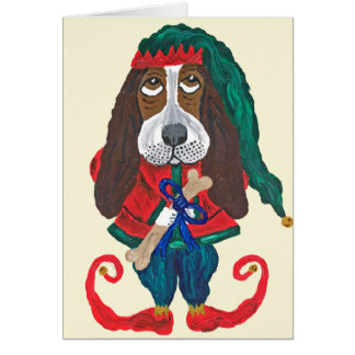 Basset Santa's Helper Christmas Elf Card