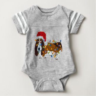 Basset Tangled In Christmas Lights Baby Bodysuit