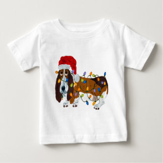 Basset Tangled In Christmas Lights Baby T-Shirt