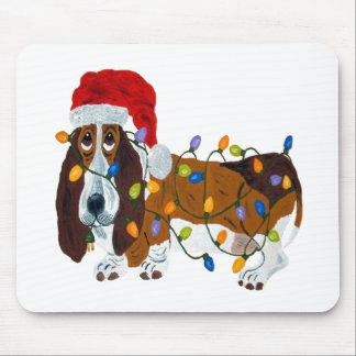 Basset Tangled In Christmas Lights Mouse Pad
