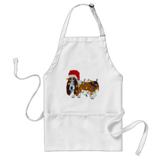 Basset Tangled In Christmas Lights Standard Apron