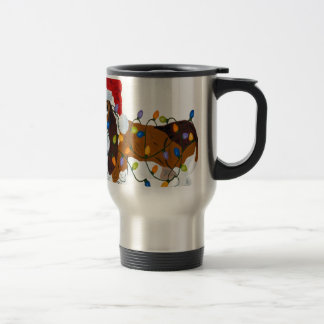 Basset Tangled In Christmas Lights Travel Mug