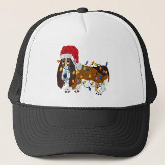Basset Tangled In Christmas Lights Trucker Hat