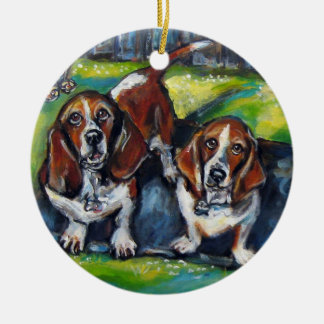 Bassets Murphy and Maddy Ceramic Ornament
