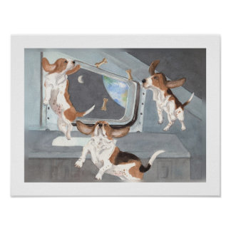 Bassets on Space Shuttle Poster