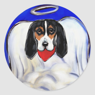 Bassett Hound Angel Classic Round Sticker