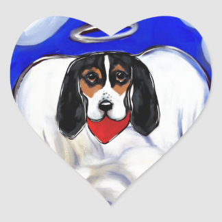 Bassett Hound Angel Heart Sticker