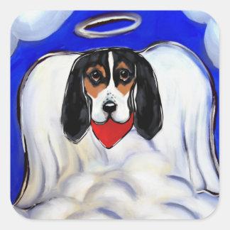 Bassett Hound Angel Square Sticker