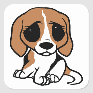bassett hound cartoon square sticker