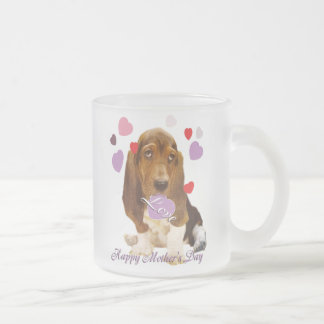 Bassett Hound Mother's Day Frosted Glass Coffee Mug