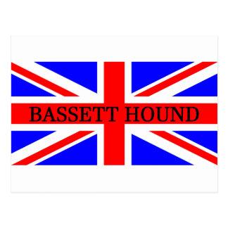 bassett hound name on flag postcard
