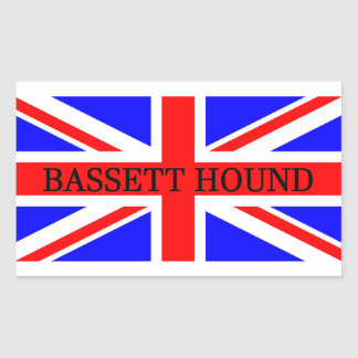 bassett hound name on flag sticker