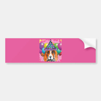 Bassett Hound  Party Dog Bumper Sticker