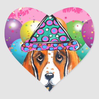 Bassett Hound  Party Dog Heart Sticker