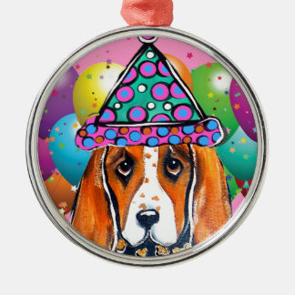 Bassett Hound  Party Dog Metal Ornament