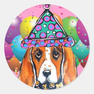 Bassett Hound  Party Dog Round Sticker