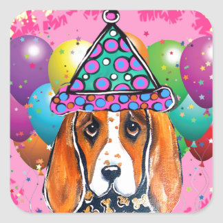 Bassett Hound  Party Dog Square Sticker