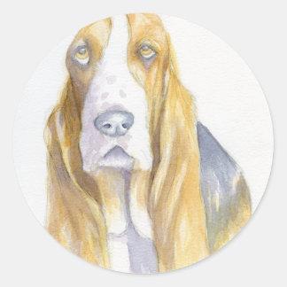 Bassett hound round sticker