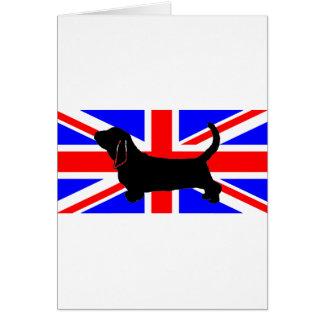 bassett hound silo on flag card