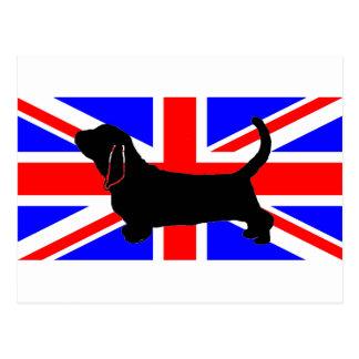 bassett hound silo on flag postcard