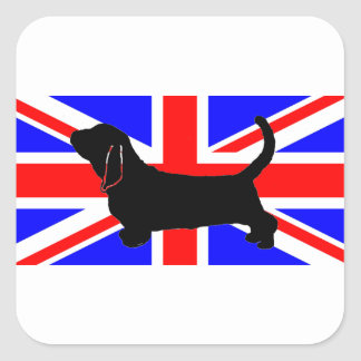 bassett hound silo on flag square sticker