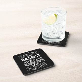BASSIST awesome classic rock band (wht) Coaster