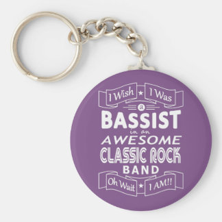 BASSIST awesome classic rock band (wht) Keychain
