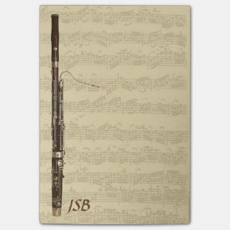 Bassoon on Bach Cello Suite Custom Monogram Post-it Notes