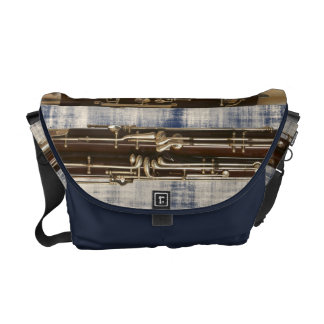 Bassoon Sections on Faded Denim Look Commuter Bag
