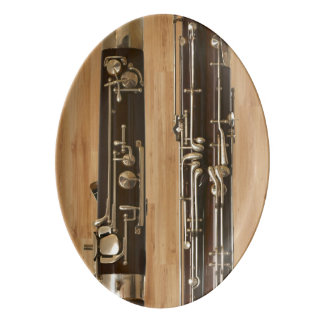 Bassoon Sections on Wood Panel Look Porcelain Serving Platter