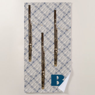 Bassoon Trio Blue White Plaid Custom Initial Beach Towel