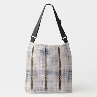 Bassoon Trio on Blue White Faded Denim Look Crossbody Bag
