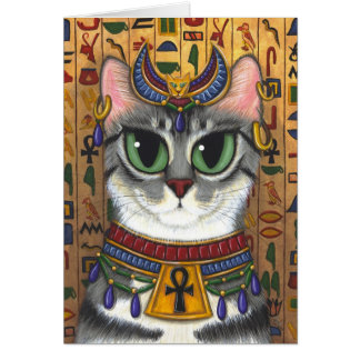 Bast Goddess Egyptian Bastet Cat Art Greeting Card