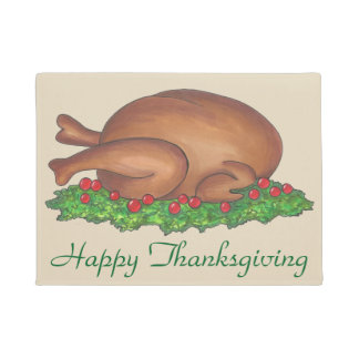 Basted Turkey Platter Thanksgiving Dinner Holiday Doormat
