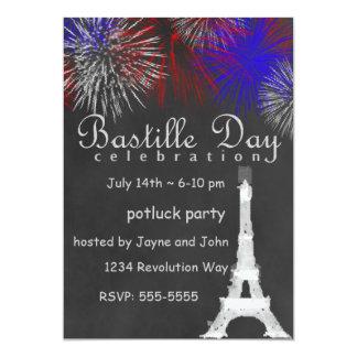 Bastille Day Fireworks Chalkboard Party Invitation