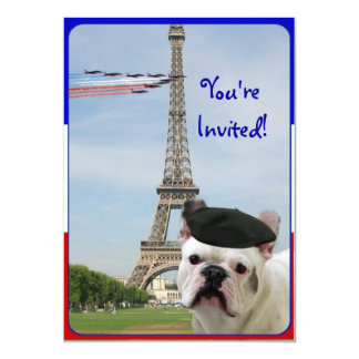 Bastille Day Party Invitation French Bulldog