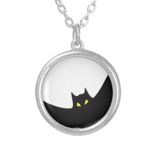 Bat #3 silver plated necklace