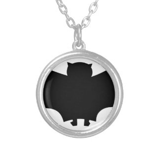 Bat #6 silver plated necklace