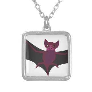 Bat #9 silver plated necklace