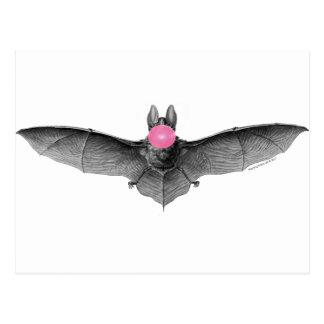 Bat Blowing Bubbles Gothic Absurd Postcard
