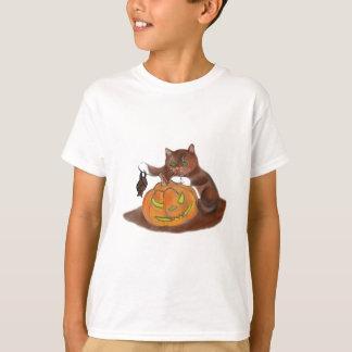 Bat, Carved Pumpkin and a Kitten Tee Shirt