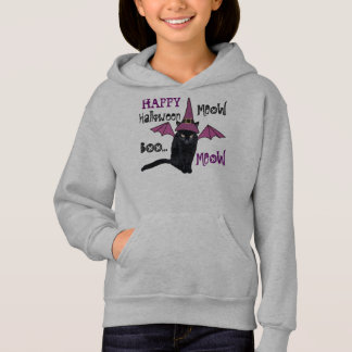 Bat Cat Happy Halloween Custom Girls Hoody