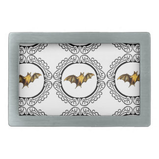 Bat Circles Rectangular Belt Buckle