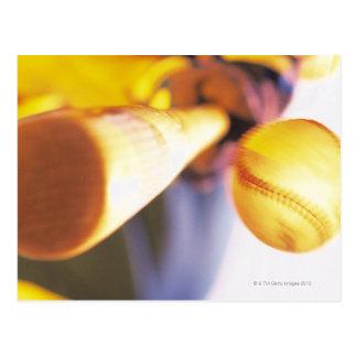 Bat contacting baseball postcard