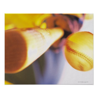 Bat contacting baseball poster
