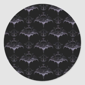 Bat Damask Stickers - Pale French Lilac