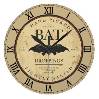 Bat Droppings Vintage Halloween Label Wallclock